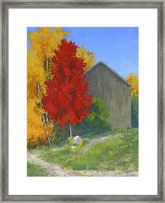 Autumn Barn Framed Print by David King