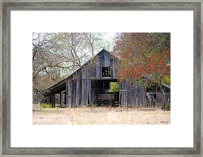 Autumn Barn Framed Print by Lisa Moore