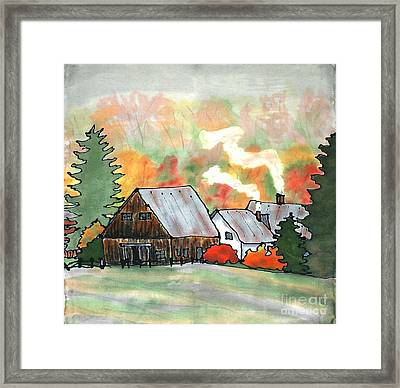 Autumn Chill Silk Painting Framed Print by Linda Marcille