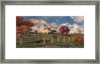 Autumn Farm Framed Print by Mary Almond