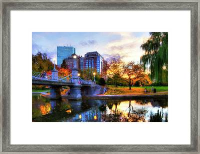 Autumn In The Park - Boston Public Garden Framed Print by Joann Vitali