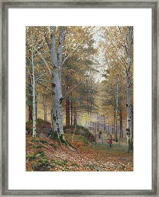 Autumn In The Woods Framed Print by James Thomas Watts