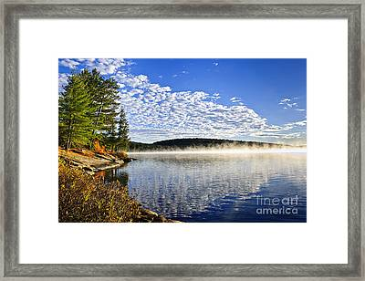 Autumn Lake Shore With Fog Framed Print by Elena Elisseeva