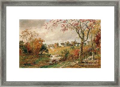 Autumn Landscape Framed Print by Jasper Francis Cropsey