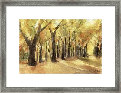 Autumn Leaves Central Park Framed Print by Beverly Brown Prints