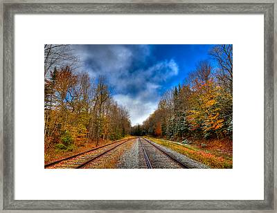 Autumn Leaves On The Tracks Framed Print by David Patterson