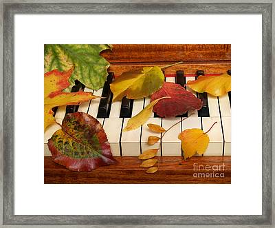 Autumn Leaves Tickle The Ivories Framed Print by Anna Lisa Yoder