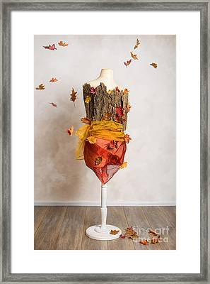 Autumn Mannequin With Falling Leaves Framed Print by Amanda And Christopher Elwell