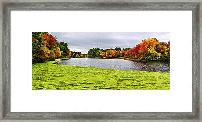Autumn On Grist Mill Pond In Sudbury Framed Print by Luke Moore