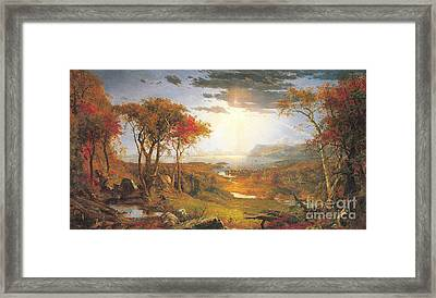 Autumn On The Hudson Rive Framed Print by Celestial Images
