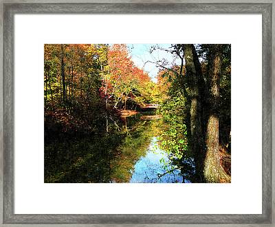 Autumn Park With Bridge Framed Print by Susan Savad