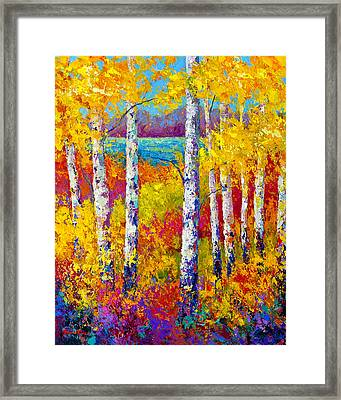 Autumn Patchwork Framed Print by Marion Rose