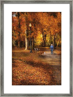 Autumn - People - A Walk In The Park Framed Print by Mike Savad