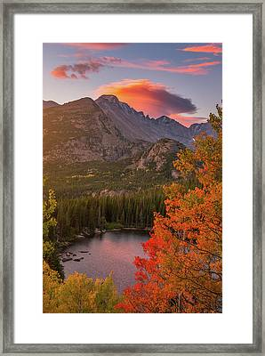 Autumn Sunrise Over Longs Peak Framed Print by Darren White