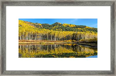Autumn Trees Reflecting On Willow Lake In Utah Framed Print by James Udall
