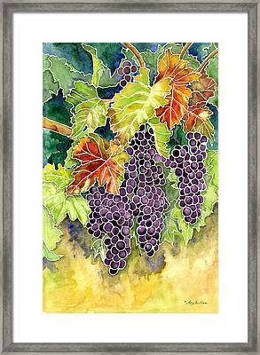 Autumn Vineyard In Its Glory - Batik Style Framed Print by Audrey Jeanne Roberts