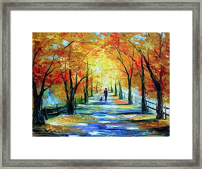 Autumn Walk Framed Print by Olha Darchuk