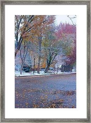 Autumn Winter Street Light Color Framed Print by James BO  Insogna