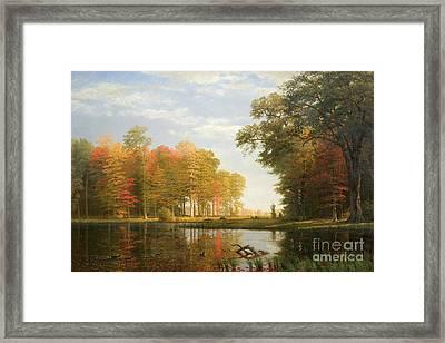Autumn Woods Framed Print by Albert Bierstadt