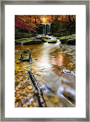 Autumnal Waterfall Framed Print by Meirion Matthias