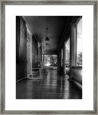 Avenel Front Porch - Bw Framed Print by Steve Hurt