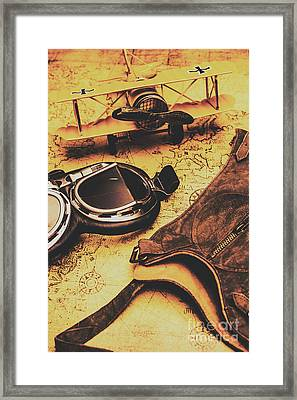 Aviator Goggles Cap And Airplane On Old World Map Framed Print by Jorgo Photography - Wall Art Gallery