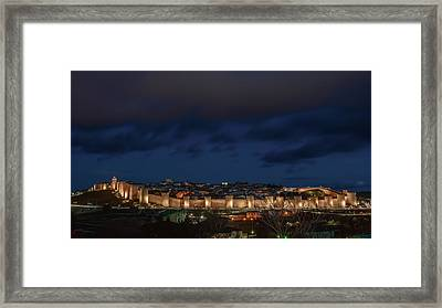 Avila At Night Framed Print by Joan Carroll