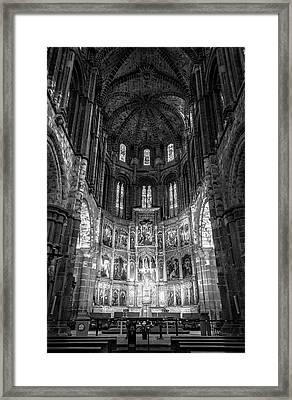 Avila Cathedral Bw Framed Print by Joan Carroll