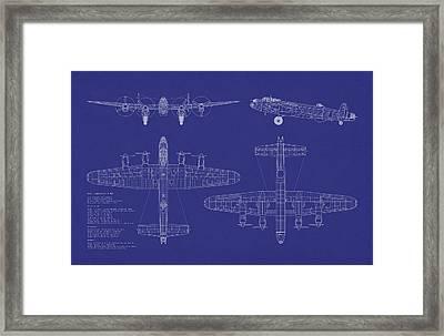 Avro Lancaster Bomber Blueprint Framed Print by Michael Tompsett