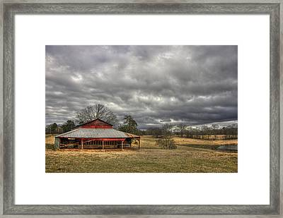 Awaiting Spring The Red Barn Framed Print by Reid Callaway