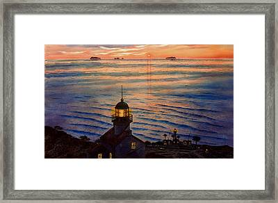 Awesome Sunset At Pt. Loma Lighthouse Framed Print by John YATO
