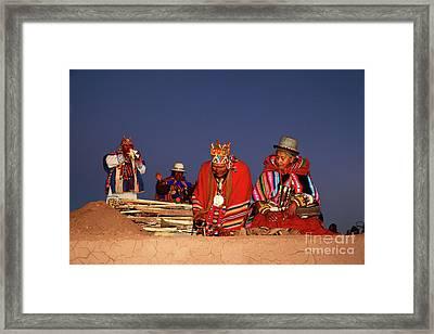 Aymara New Year Ceremonies Bolivia Framed Print by James Brunker