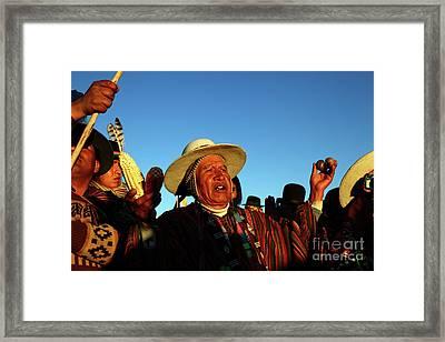 Aymara New Year Harvest Thanksgiving Bolivia Framed Print by James Brunker