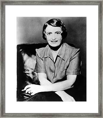 Ayn Rand, 1957 Author Of Atlas Shrugged Framed Print by Everett