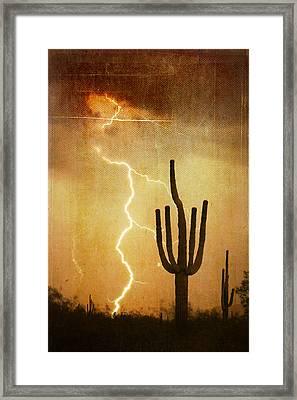 Az Saguaro Lightning Storm V Framed Print by James BO  Insogna