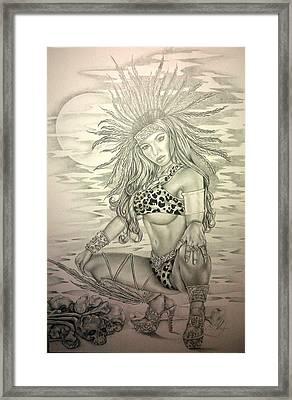 Aztec Princess Framed Print by Carlos Mendoza