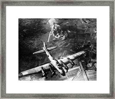 B-17 Bomber Over Germany  Framed Print by War Is Hell Store