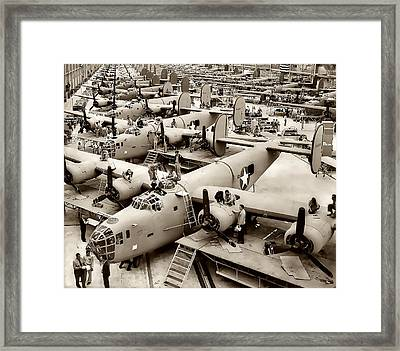 B-24 Bomber Production 1943 Framed Print by Daniel Hagerman