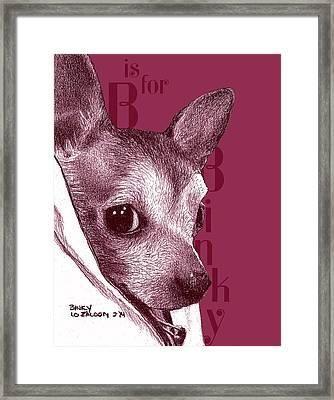 B Is For Bink Framed Print by Lorraine Zaloom
