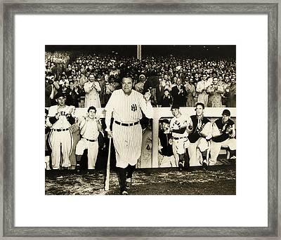 Babe Ruth At Yankee Stadium Framed Print by Doc Braham