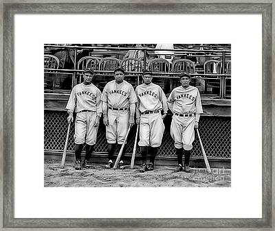 Babe Ruth Lou Gehrig And Joe Dimaggio Framed Print by Marvin Blaine