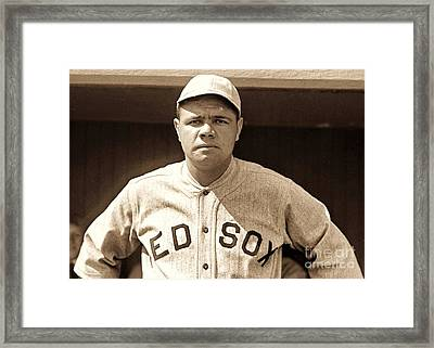 Babe Ruth Framed Print by Roberto Prusso