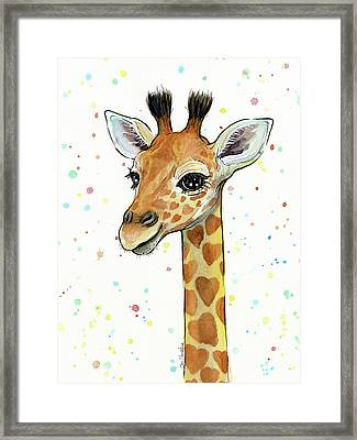 Baby Giraffe Watercolor With Heart Shaped Spots Framed Print by Olga Shvartsur