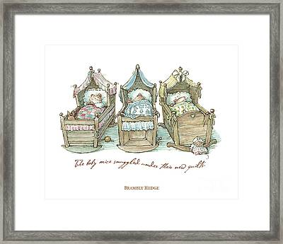The Brambly Hedge Baby Mice Snuggle In Their Cots Framed Print by Brambly Hedge