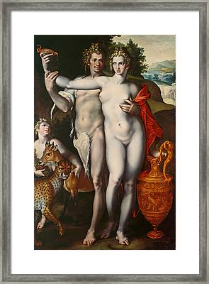 Bacchus And Venus Framed Print by Bartholomaeus Spranger