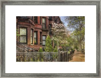 Back Bay Boston Brownstones In Spring Framed Print by Joann Vitali