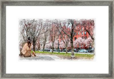 Back Bay Boston Watercolor Framed Print by Edward Fielding