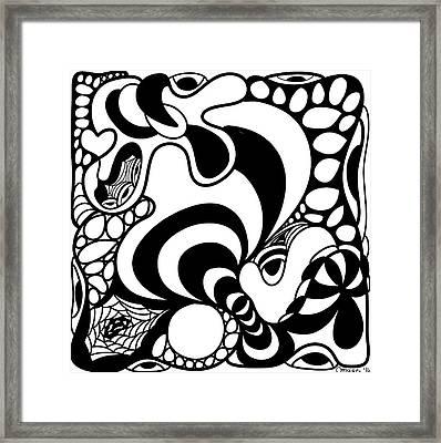 Back In Black And White 11 Modern Art By Omashte Framed Print by Omaste Witkowski