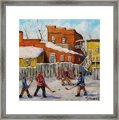 Back Lane Hockey Created By Prankearts Framed Print by Richard T Pranke