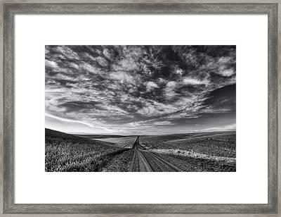 Back Road Solitude Black And White Framed Print by Mark Kiver